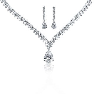 Bling Jewelry Teardrop CZ Bridal Necklace Drop Earrings Set Rhodium Plated