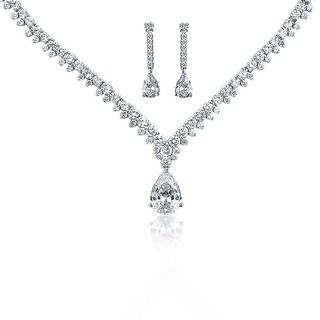 Bling Jewelry Teardrop CZ Bridal Necklace Drop Earrings Set Rhodium Plated