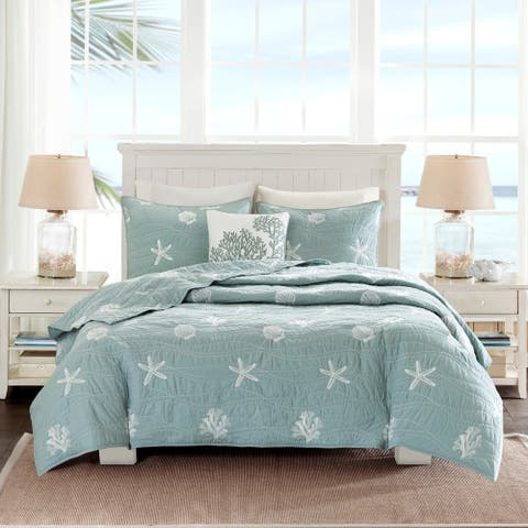 Harbor House Seaside Dusty Blue Cotton Coverlet Set