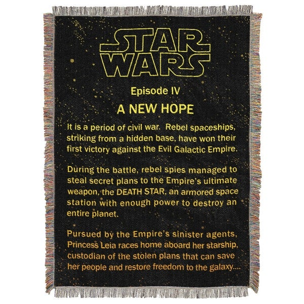 """Star Wars A New Hope Opening Crawl Tapestry Throw Blanket 48"""" x 60"""""""