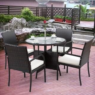 Gymax 5 PC Furniture Set Rattan Wicker Cushioned Outdoor Garden Patio