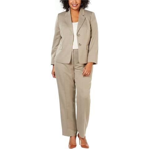 Le Suit Womens 2-Button Pant Suit, brown, 20W