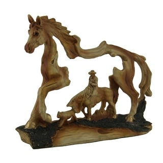 The Wrangler Cowboy in Horse Faux Carved Wood Openwork Statue - 5.5 X 7 X 1.5 inches