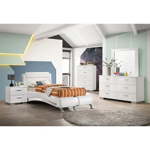 Strick & Bolton Shauf Glossy White Platform Bed Set