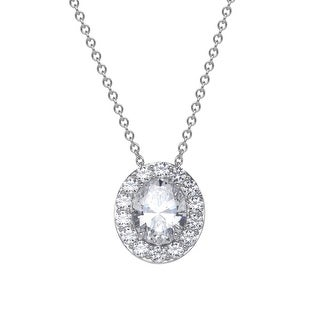Oval Pendant with 6 1/3 ct Swarovski Zirconia in Sterling Silver - White