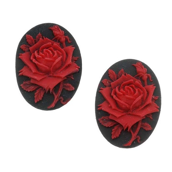 Lucite Oval Cameo Black With Red Rose 25X18mm (2)