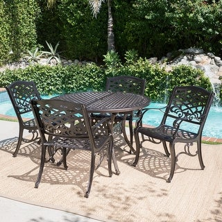 Link to Windley Outdoor Expandable Aluminum Dining Set with Umbrella Hole by Christopher Knight Home Similar Items in Patio Furniture
