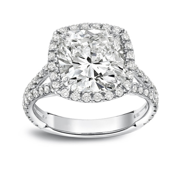 Auriya Platinum 4 1/3ctw Cushion-cut Halo Diamond Engagement Ring Certified. Opens flyout.