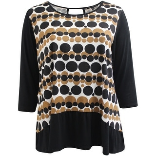 Women Plus Size Polka Dot Asymmetrical Keyhole Back Fashion Blouse Tee Shirt Knit Top Black Brown
