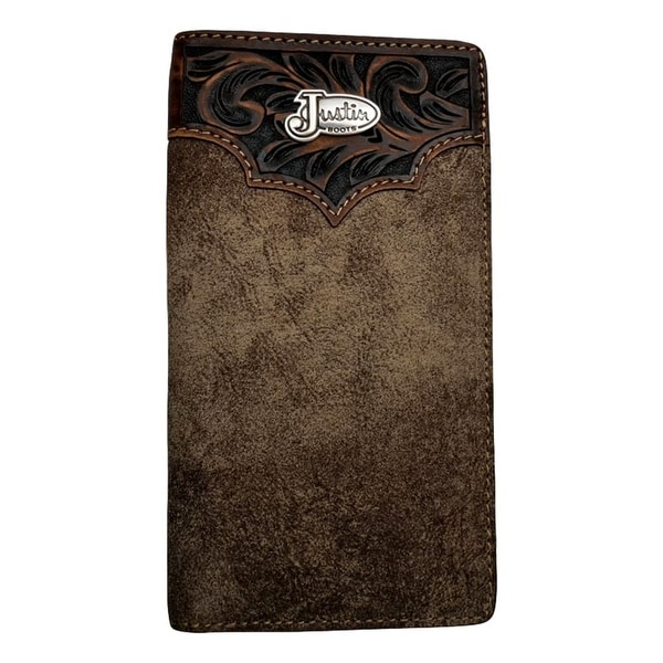 "Justin Mens Wallet Western Distressed ID Window Brown Leather - 6 3/4"" x 3 5/8"""