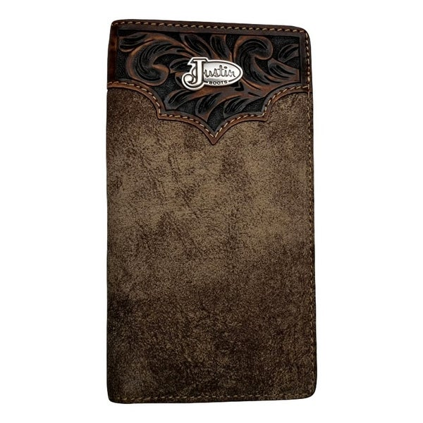 "Justin Western Wallet Mens Rodeo Concho ID Window Dude Taupe - 6 3/4"" x 3 5/8"""