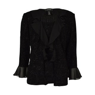 R & M Richards Women's Chiffon Ruffle Blouse - Black - s