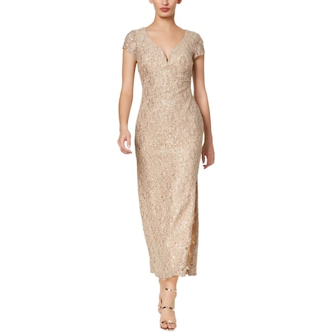 Connected Apparel Womens Petites Evening Dress Sequined Lace
