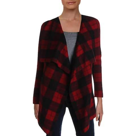 Lauren Ralph Lauren Womens Cardigan Sweater Wool Buffalo Check - Red Multi - XS