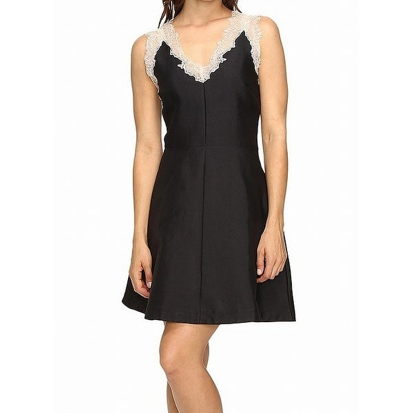 Adelyn Rae Black Womens Size Large L A-Line Eyelash Lace Dress