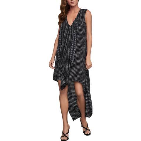 BCBG Max Azria Women's Ruffled Floral Dot Print High-Low Midi Dress - Black Mini Floral