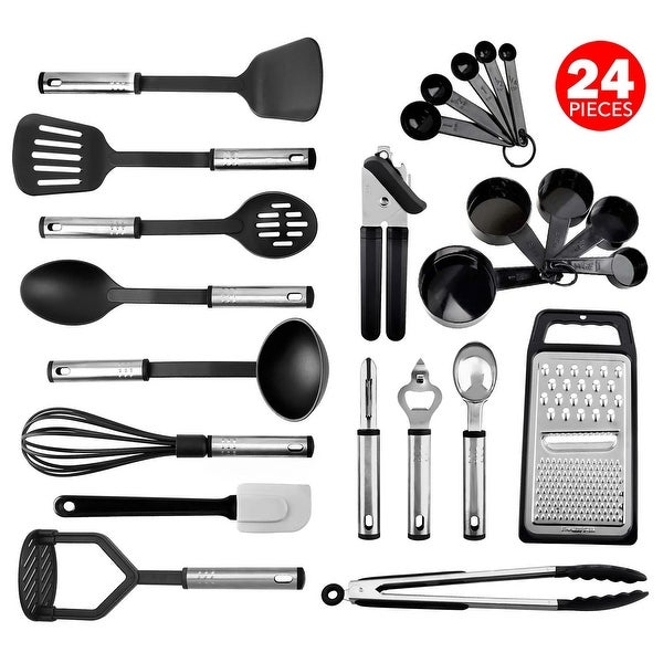 Kitchen Utensil set - Nylon / Stainless Steel Cooking / Baking Supplies - Non-Stick and Heat Resistant Cookware set - 3 Sizes. Opens flyout.