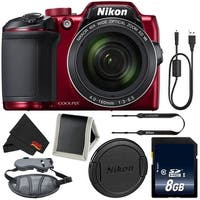 Nikon COOLPIX B500 Digital Camera (Red) 26508 (Intl Model) + 8GB SDHC Class 10 Memory Card + Pro Hand Camera Grip Bundle