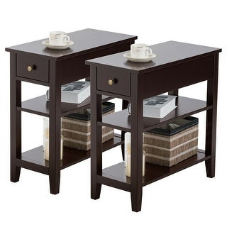Gymax Set of 2 3-Tier Nightstand Bedside Side End Table w/Double Shelves Drawer Brown