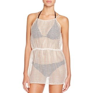 Milly Womens Spaghetti Straps Basketweave Dress Swim Cover-Up