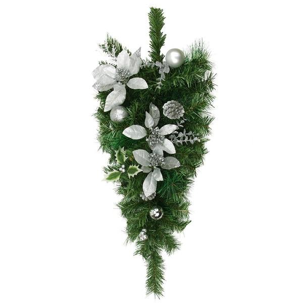 Shop 32 Pre Decorated Silver Poinsettia Pine Cone And Ball