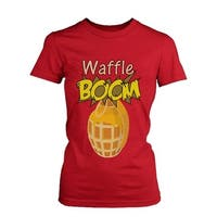 Grenade Waffle Boom Women's Graphic Shirt in Red Humorous Tee Funny Unisex Tshirt  Funny Shirt