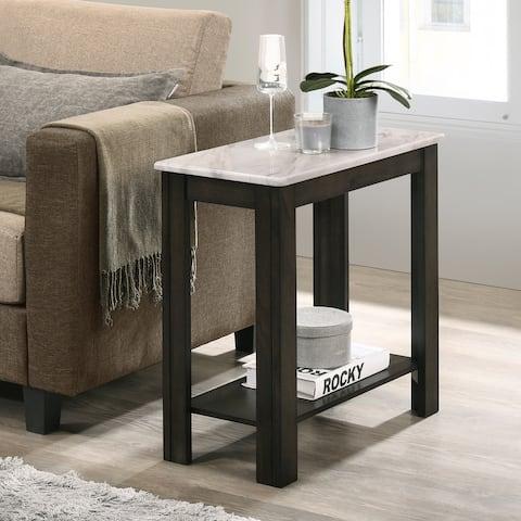 Furniture of America Kari Transitional Dark Walnut 1-shelf Side Table