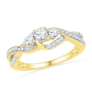 10k Yellow Gold Womens Natural Round Diamond 3-stone Bridal Wedding Engagement Ring 5/8 Cttw - White