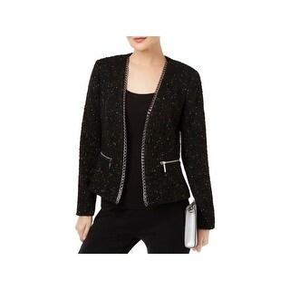 MICHAEL Michael Kors Womens Open-Front Blazer Tweed Chain Detail
