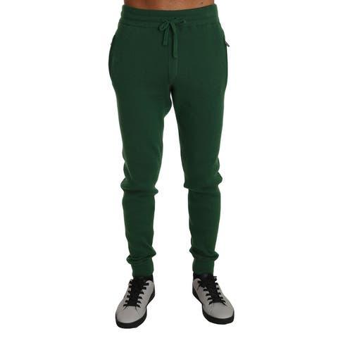 Green 100% Cashmere Casual Warm Men's Sweatpants