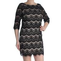 JESSICA HOWARD Womens Black Lace Printed 3/4 Sleeve Boat Neck Mini Shift Cocktail Dress Petites  Size: 14