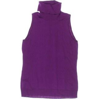Lauren Ralph Lauren Womens Silk Blend Sleeveless Turtleneck Sweater