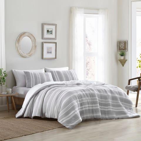 Brielle Home Quartz Stripe Cotton Gauze Comforter Set