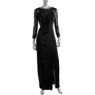 Tahari ASL Womens Aaron Satin Embellished Evening Dress
