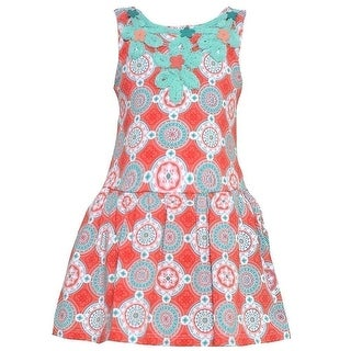Counting Daisies Baby Girls Coral Turquoise Art Deco Print Easter Dress 12M