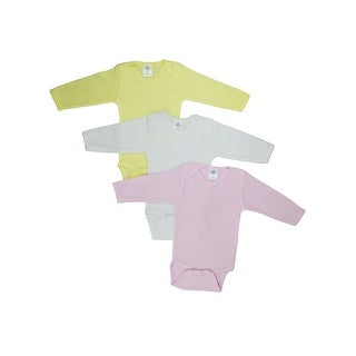 Bambini Baby Girl's Yellow, White, Pink Rib Knit Pastel Long Sleeve Onesie 3-Pack