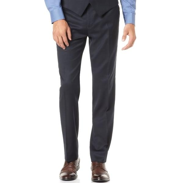 Alfani Red Label Slim Fit Navy Blue Solid Flat Front Dress Pants 38W x 30L