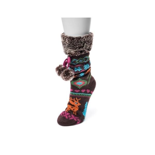 Muk Luks Socks Womens Pieced Cabin Knit Non-Skid Chocolate