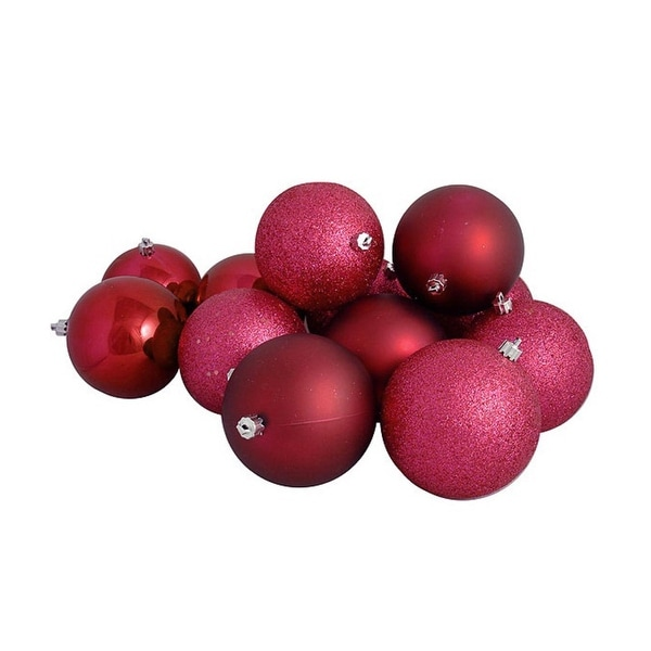 """16ct Red Raspberry Shatterproof 4-Finish Christmas Ball Ornaments 3"""" (75mm)"""