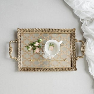 FloralGoods Carving Frame Floral Pattern Mirrored Brass Tea or Vanity Tray