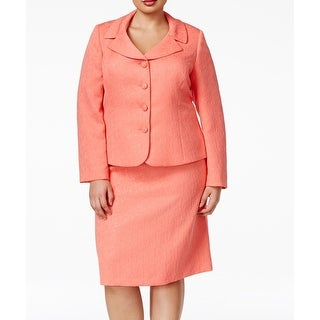 Tahari by ASL NEW Pink Jacquard Women's Size 18W Plus Skirt Suit Set