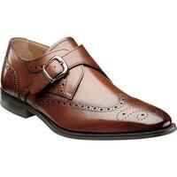 Florsheim Men's Sabato Wing Tip Monk Strap Cognac Leather