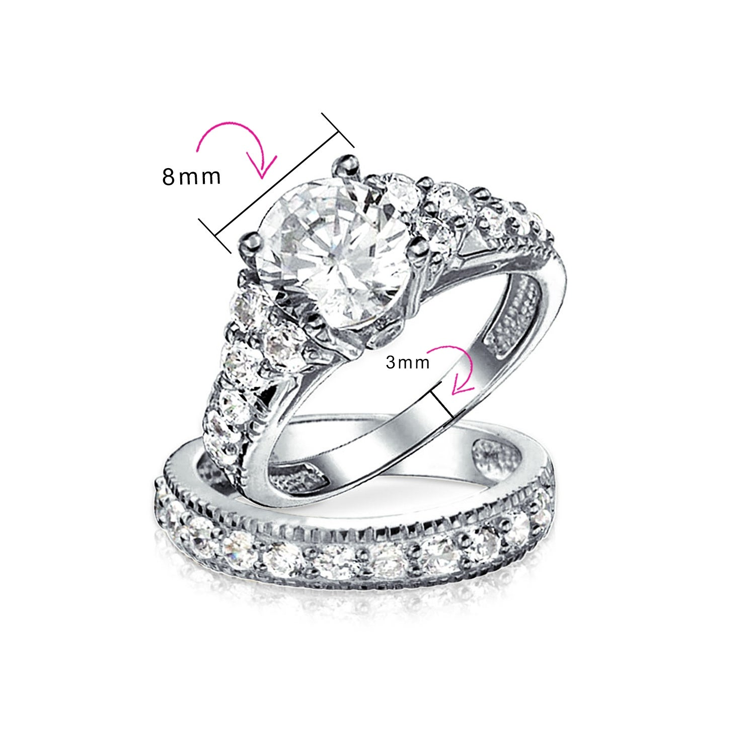 Women 8MM Sterling Silver 2ct CZ 6 prong Solitaire Wedding Engagement Ring