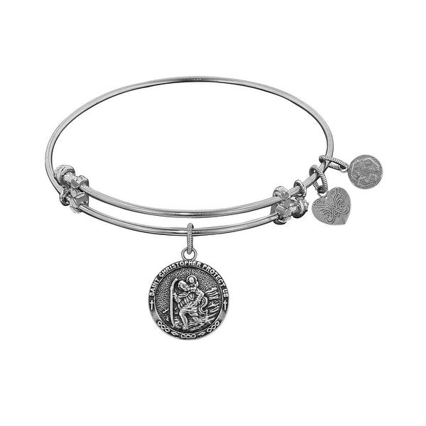 "Angelica Collection Antique Stipple Finish Brass ""saint Christopher"" Expandable Bangle"