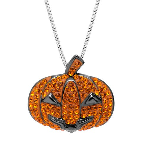 Crystaluxe Halloween Jack O'Lantern Pendant with Swarovski Crystals in Black Rhodium-Plated Sterling Silver - Orange
