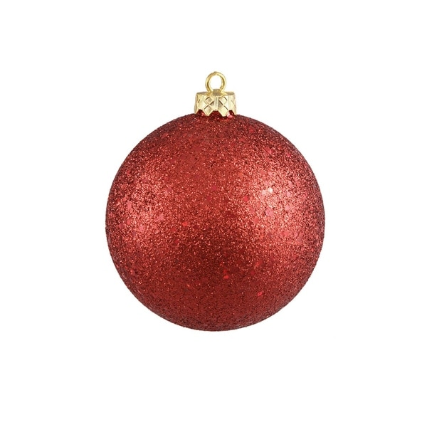 """Red Hot Commercial Holographic Glitter Shatterproof Christmas Ball Ornament 10"""" (250mm)"""