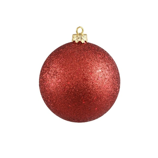 "Shatterproof Red Hot Holographic Glitter Christmas Ball Ornament 8"" (200mm)"