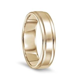 14k Yellow Gold Polished Finish Wedding Band Ring With Round Edges 6mm