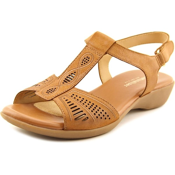 Naturalizer Network Women WW Open-Toe Leather Brown Slingback Sandal