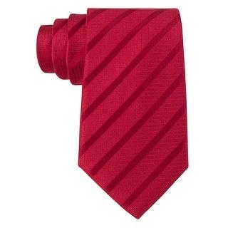 Sean John Red Stripe Solid Silk Blend Tie Classic Width One Size Necktie